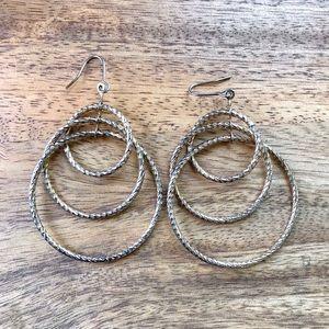 Jewelry - Gold bronze triple hoop statement earrings